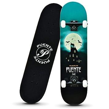ZM Niños y niñas Adultos patinetes, Principiantes y Adolescentes Longboard, Cepillo de la Calle de Doble Pliegue de Cuatro Ruedas de Skate,Green: Amazon.es: ...