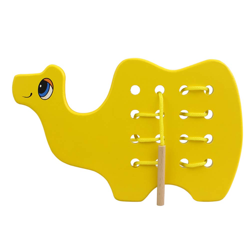 Wooden Camel Toy Wooden Lacing Camel Toy Threading Montessori Activity Learning Early Development Educational Wood Block Puzzles Travel Game For Baby Toddler and Kids Plane Car Above 18 Month