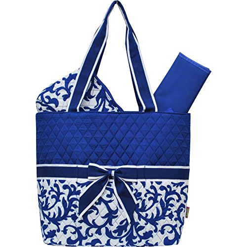 Royal Blue Damask Print NGIL 3pc set Diaper Bag