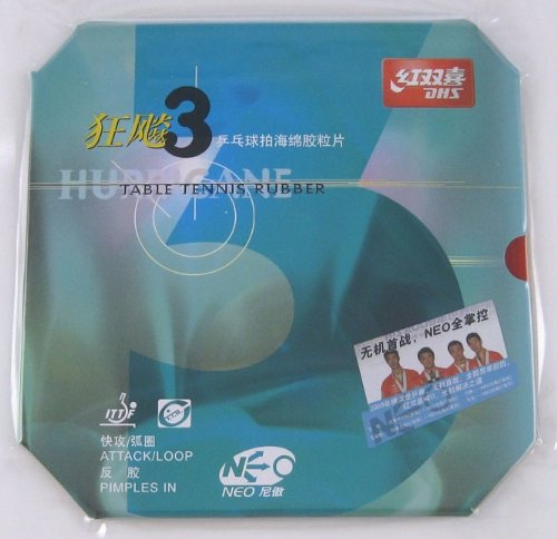 DHS NEO HURRICANE-III Pips-In Table Tennis Rubber, Double Happiness (DHS) - Red (Hurricane Iii)