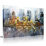 New York City Palette Knife Art Brooklyn Bridge Oil Painting HD Picture Print Wall Art Modern Giclee Artwork Home Decor Stretched and Framed Ready to Hang On Canvas 12x16 inch(30x40cm) 1pc