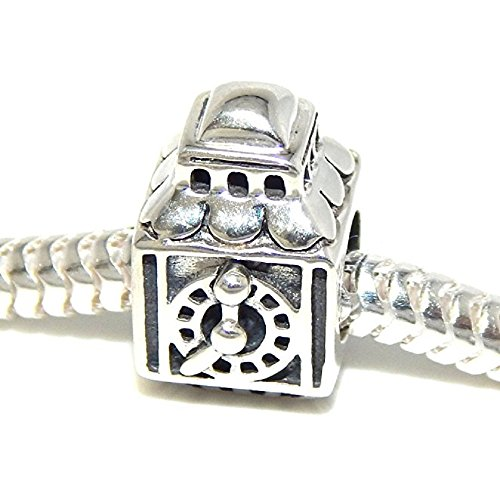 PJEWELRY 925 Solid Sterling Silver Top of Clock Tower Charm ()