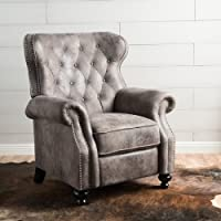 Home Walder Tufted Microfiber Recliner Club Chair Grey
