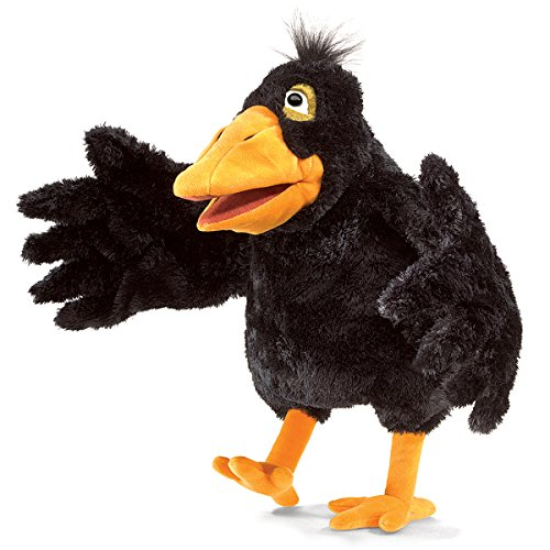 Folkmanis Beaked Crow Two-Handed Puppet Plush, Yellow by Folkmanis