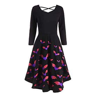 f2f851b1cc6 Amazon.com  DEATU Ladies Dress Women Halloween Casual Elegance Long Sleeve  Hollow Bat Print Flare Dress Party Casual Dresses  Clothing