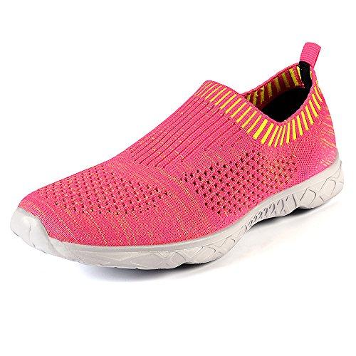 QANSI Womens Ladies Trainers Breathable Mesh Slip On Water Shoes - Peach - 6 UK (EU 40)
