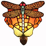 Bieye Lighting L11401 Tiffany-style 6 inches Stained Glass Blue-Bodied Dragonfly Mini Night Wall Lamp, Red
