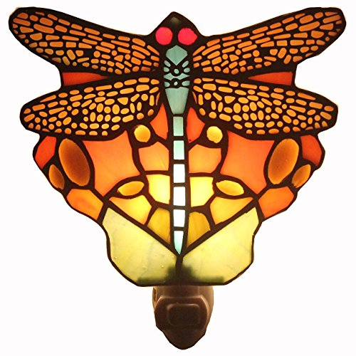 Bieye L11401 Tiffany Style Dragonfly Wall Lamp - Night Light with 6-inch Stained Glass Lampshade - Red