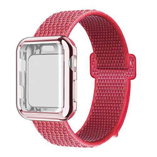 QIENGO Compatible with Apple Watch Band with Case 40MM, Soft Nylon Strap with Silicone Screen Protector, Replacement for iWatch Sport Series 4 (Hibiscus, 40mm) -