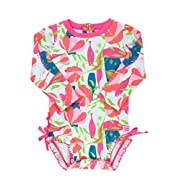 RuffleButts Little Girls Long Sleeve One Piece Swimsuit - Jeweled Stems with UPF 50+ Sun Protection - 12-18m