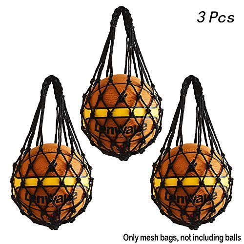 Hatisan 3Pcs Durable Mesh Storage Sports Ball Holder, Multifunctional Single Ball Carrier Net Bag for Basketball Football Volleyball Soccer - Lightweight & Convenient (Black)