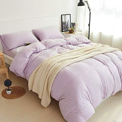DOUH Jersey Knit Cotton Duvet Cover Queen Bedding Set 3 Piece, Ultra Soft  Full Comforter Cover and Pillow Shams Comfy Solid Lavender Queen Size
