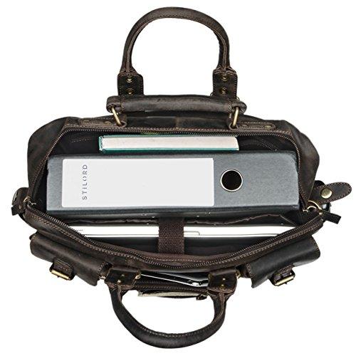 STILORD Discovery große Vintage Lehrertasche College Bag Büro 15.6 Zoll Laptoptasche Umhängetasche Aktentasche XL Herren Damen Leder , Farbe:dunkel - braun dunkel - braun