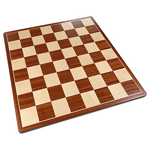 Pallas Rounded Corners Chess Board with Inlaid Mahogany Wood – Board Only – 17 Inch ()