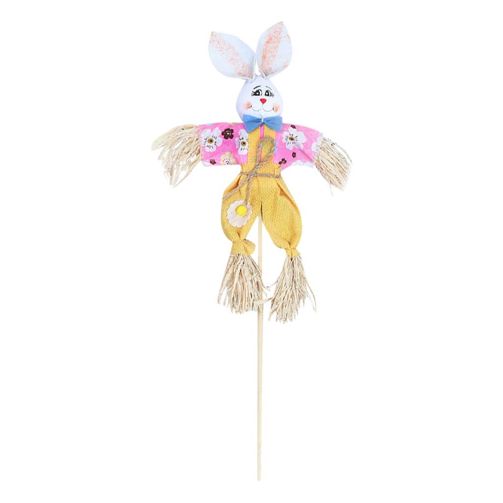 Binory Easter Decoration Gift,Funny Easter Bunny Theme Handheld Scarecrow Non Woven Fabric Straw Materials Toy,Party Props Home Decoration Creative Easter Gift for Children(Yellow)
