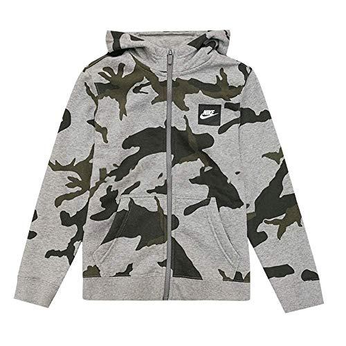 Nike Boys Youth Camo Club Fleece Full-Zip Hoodie (Camo Grey, Small) by Nike (Image #1)