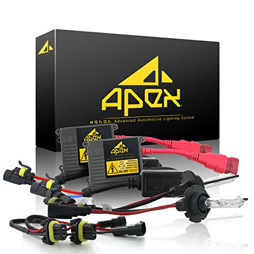 "Apex H11 ( H8 / H9 ) Xenon Hid Conversion Kit ( 6k 6000k Diamond White ) with "" Exclusive Digital Ignitor Premium Ballasts "" HID Headlights Conversion Kit comes with Bulbs & Ballast Full HIDs Kits Bright Lights Headlight conversions"