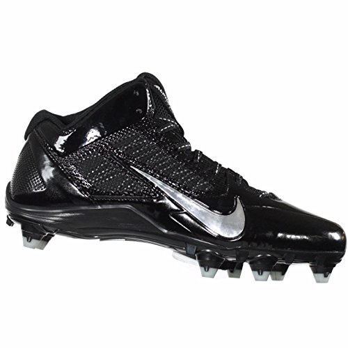 Mens Nike Alpha Pro 2 3/4TD Football Cleats 719927 010 (Black/Metallic Dark Grey/White, 10 D(M) US)
