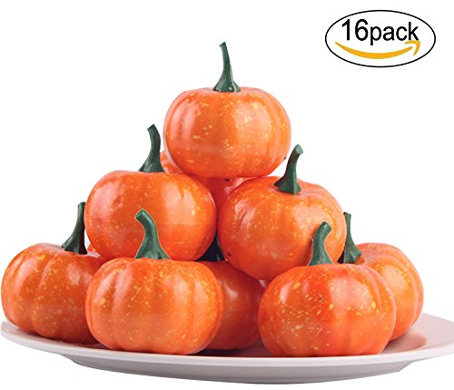 sexyrobot Artificial Mini Pumpkins, Fall Harvest for Halloween Home Decoration,16 Pack by sexyrobot