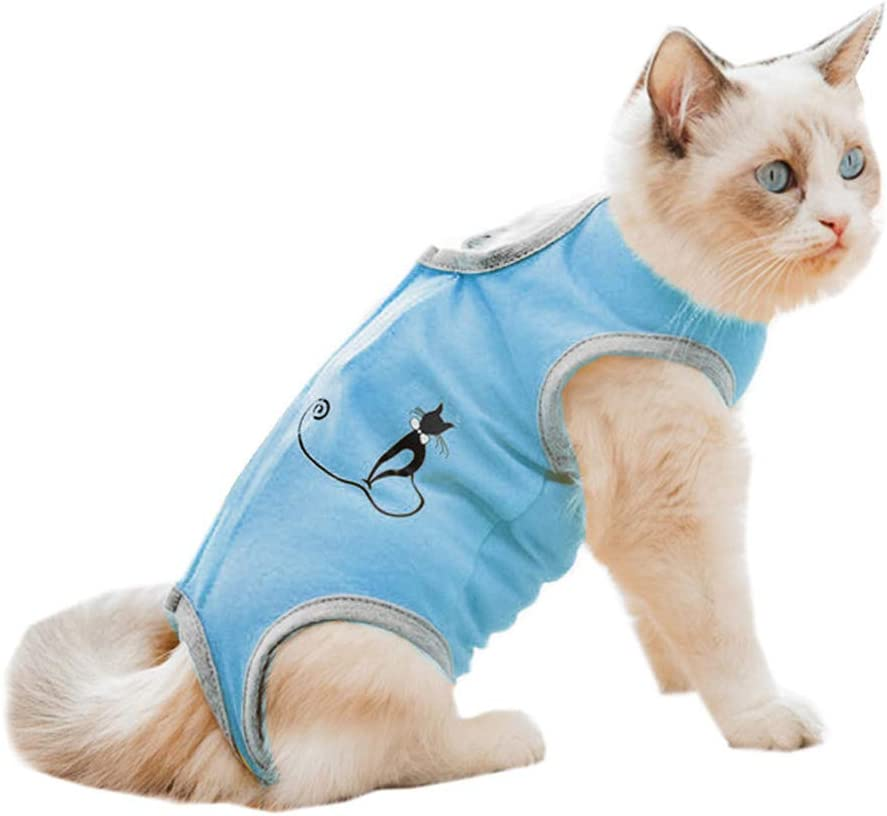 Pajama Suit,Home Indoor Pets Clothing E-Collar Alternative for Cats Dogs,After Surgery Wear Cat Professional Surgical Recovery Suit for Abdominal Wounds Skin Diseases