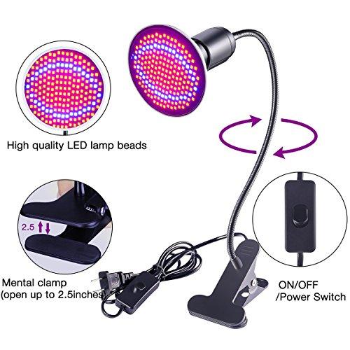 [해외]LED 가벼운 성장 D-FLIFE 200 LED가 18W 교체 가능 성장 전구 실내 식물을위한 360도 구즈넥과 정신 클립 식물 램프 원예 온실 Hydr/LED Grow Light D-FLIFE 200 LED 18W Replaceable Grow Bulb Mental Clip Plant Lamp with 360 Degree Goose-Neck ...
