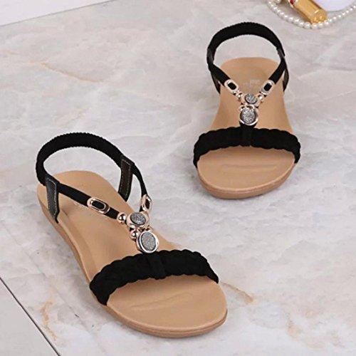 Tongshi Mujeres del verano de las sandalias planas para las mujeres ocasionales de la manera sandalias de playa zapatos Negro