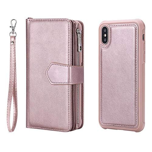 - iPhone Xs/X Case, SHERIC Premium Flip Folio Magnetic Detachable TPU + PU Leather Zipper Cover case, Wallet Case with Cash, ID & Credit Card Slots, Protective Armor case for iPhone Xs/X (Rose Gold)