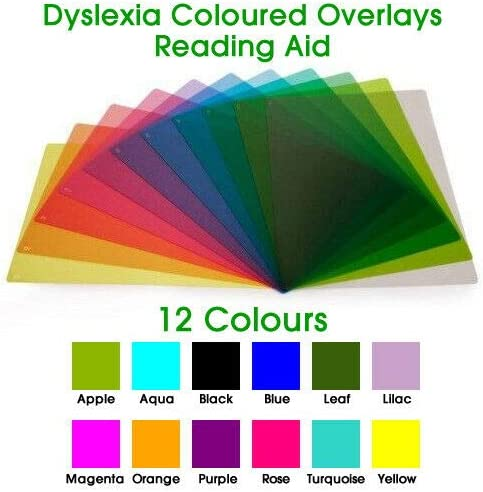 A4 // Ruler Coloured Overlays Reading Aid /& to Support Dyslexia /& Irlen Syndrome 12 Colours A4-210 x 297mm, Aqua