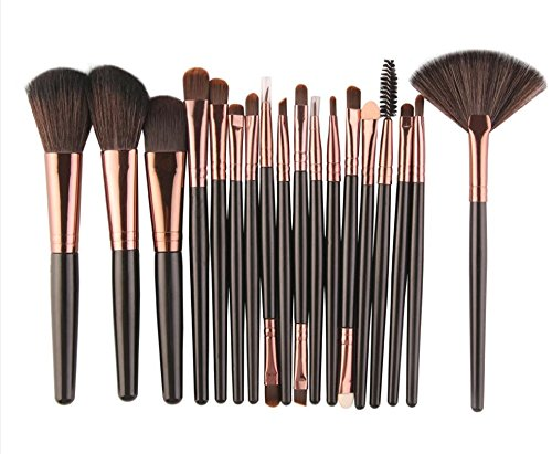 Grandey 18Pcs/set Makeup Brushes Tools Kit Power Foundation Blush Eye Shadow Blending Fan Cosmetic Beauty Make Up Brush Maquiagem (Black - Grd Gold