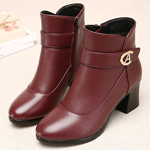 Shukun Bottes Bottes des mères Bottes avec d'hiver des Femmes épaisses avec épaissie avec Bottes des Bottes Martin Chaussures pour Femmes Chaussures en Coton Chaussures d'âge Moyen 35|Red K b9c5a2