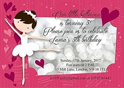 10 x Bailarina Ballet cumpleaños invitaciones o chica ...