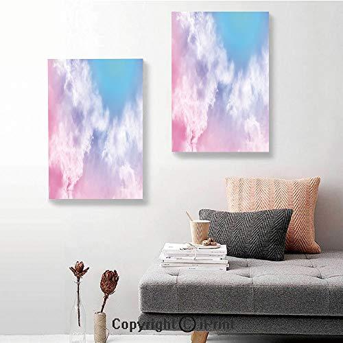 SfeatruRWF Canvas Wall Art Decor,Fantasy Sky Abstraction Smoky Clouds Foggy Mystical Ethereal Composition Decorative,24