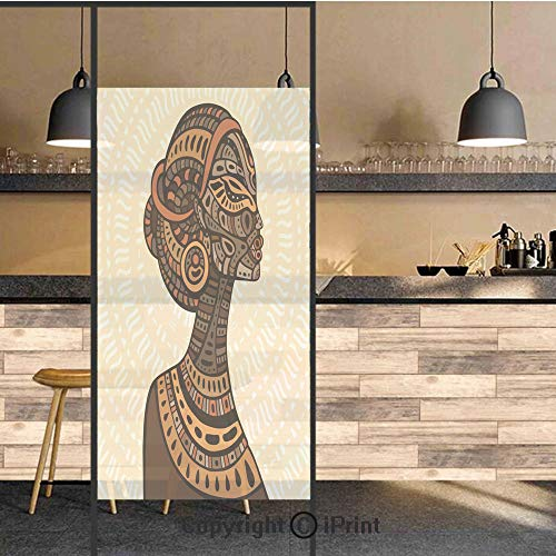 3D Decorative Privacy Window Films,Hand Drawn Ethnic Illustration Profile Portrait Tribal Ornaments Folk Art Decorative,No-Glue Self Static Cling Glass film for Home Bedroom Bathroom Kitchen Office 24 Dallas Cowboys Art Glass Ornament