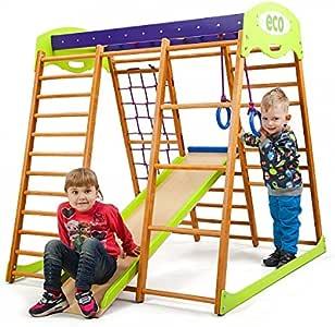 SportBaby Centro de Actividades con tobogán ˝Karamelcek, Red de Escalada, Anillos, Escalera Sueco, Campo de Juego Infantil: Amazon.es: Juguetes y juegos