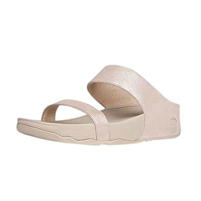 dfb3af27893c Fitflop Women s Lulu Shimmer Suede Slide Dress Sandal (Nude ...