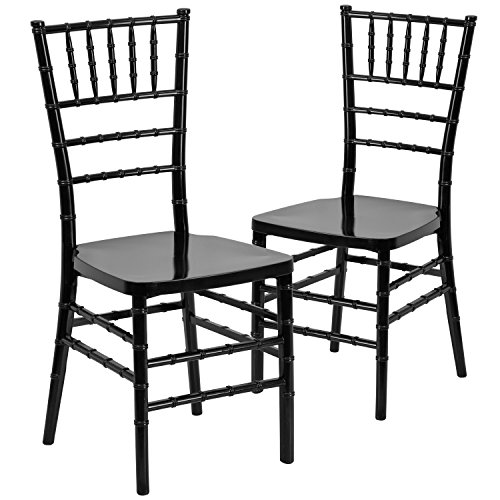 400 Casual Outdoor Furniture - Flash Furniture 2 Pk. HERCULES PREMIUM Series Black Resin Stacking Chiavari Chair