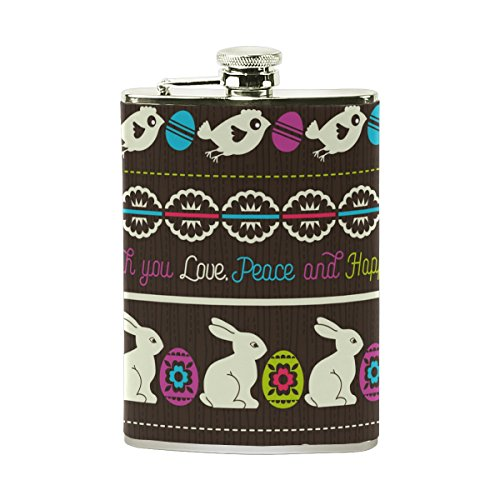 AHOMY Happy Easter Egg Rabbit Flowers Stainless Steel Hip Flask 8 OZ Leak Proof Liquor Flask with PU Leather Wrapped - Easter Liquor Egg Bottles
