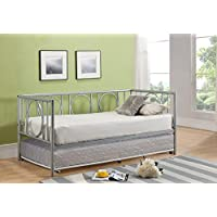 Twin Size Silver Metal Day Bed Frame With Cream White Roll-Out Trundle, Headboard, Footboard, Rails & Slats (Twin Daybed & Trundle)