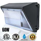 60W LED Wall Pack, LED Wall Pack Light Fixture 5000K(Bright White)- 6000Lumens-Waterproof Outdoor Security Lights, 300 Watt Equivalency- Commercial Grade LED Wall Pack