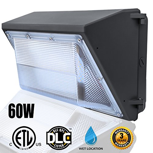 60W LED Wall Pack, LED Wall Pack Light Fixture 5000K(Bright White)- 6000Lumens-Waterproof Outdoor Security Lights, 300 Watt Equivalency- Commercial Grade LED Wall Pack by LEDMO