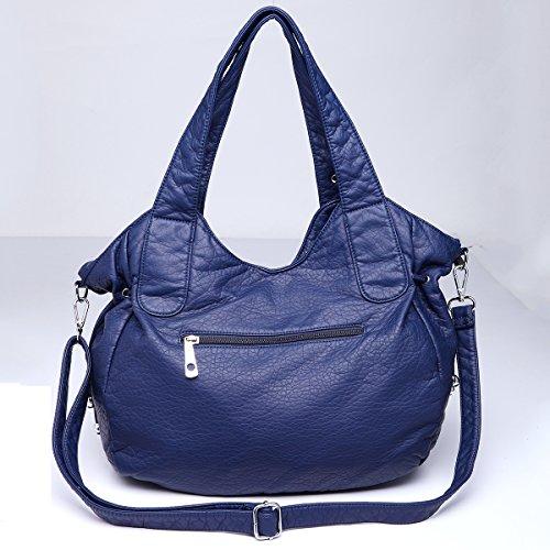Angelkiss - Bolso al hombro de Piel para mujer 13.8*13*5 azul