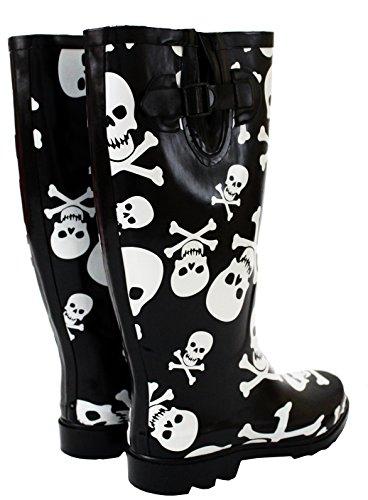 New Womens Ladies Ajustable Calf Snow Rain Mud Festival Waterproof Wellington Boots Wellies Sizes UK 3-8 (UK 7, Black/White Skull)