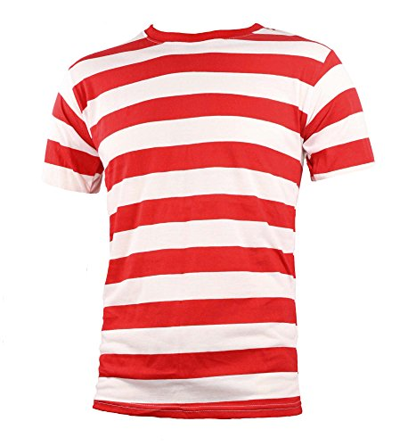 Adult Men's Short Sleeve Striped Shirt Red White (XL)