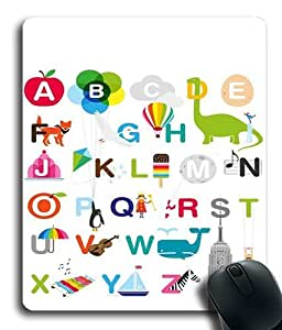 26 Letters Of The Alphabet Custom Mouse Pad/ Mouse Mat - Cloth - 3MM - Rectangle