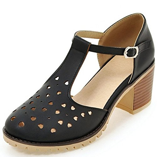 COOLCEPT Mujer Clasico Tacon Ancho Ankle Strap Hueco Vintage Sandalias 615 Negro