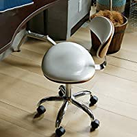 Nordic Pu Leather Coffee Desk Chair Swivel Computer Chair,Children Study Art Office Chair European Solid Wood Seat-White 40x49x81cm(16x19x32)