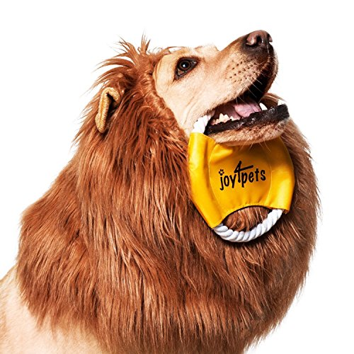 JOY4PETS Lion Mane for Dog + Frisbee - Premium Quality, Realistic, Hilarious & Eye Catching Dog Lion Mane - Dog Costume with Ears - Comfortable Lion Wig for Medium and (Turn Black Dress Into Halloween Costume)