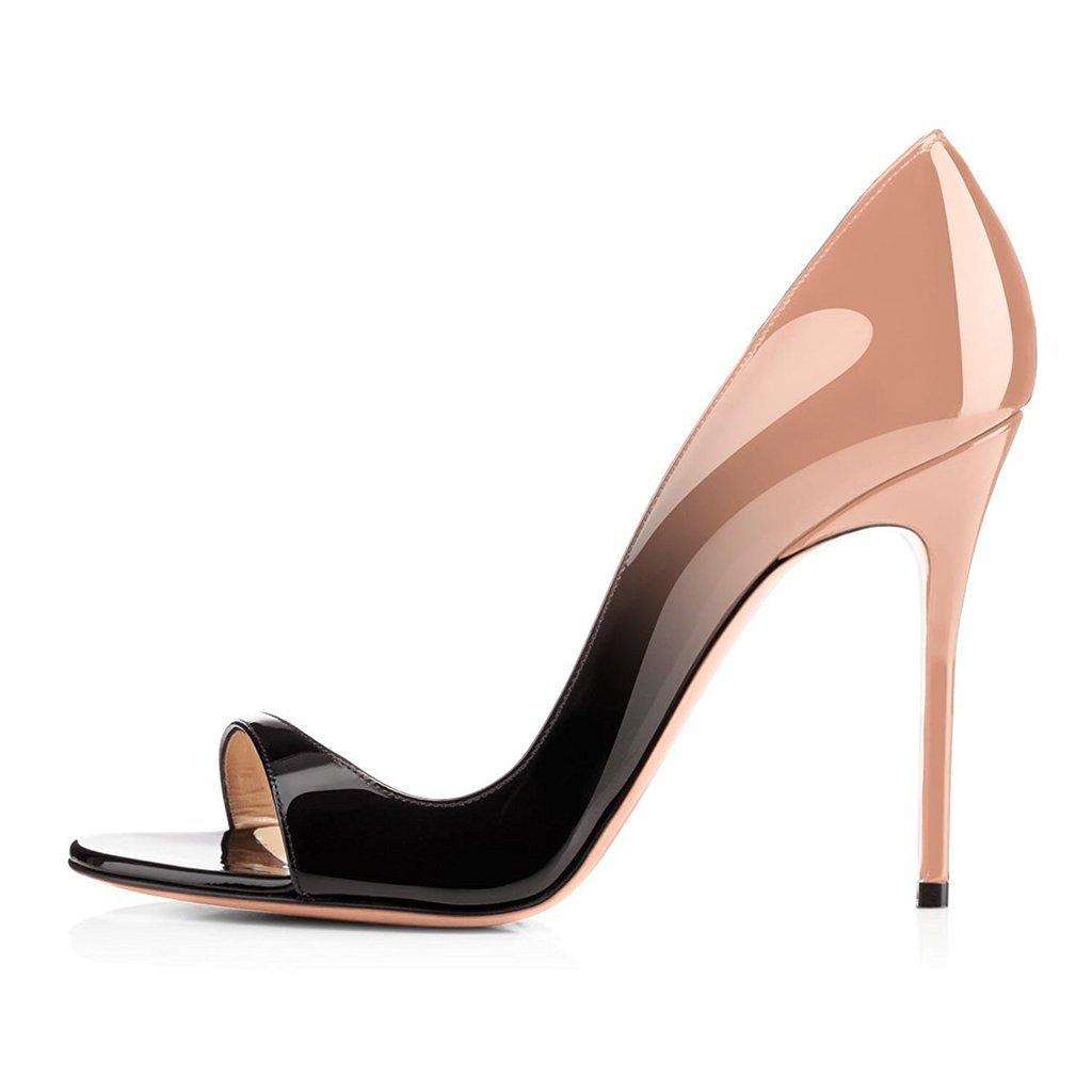 elashe - Scarpe da Donna - 12CM Peep Toe Sandali - Tacco a Spillo - Classiche Scarpe col Tacco Nero Nero-Beige