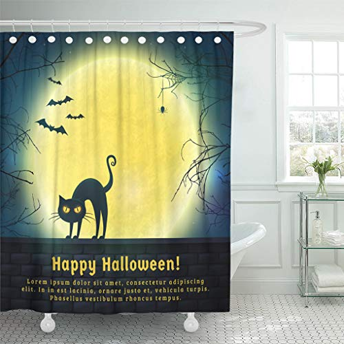 Emvency Shower Curtain Happy Halloween with Full Moon and Evil Cat Spooky Night with Copy Space for Greetings Promo Text Shower Curtains Sets with Hooks 60 x 72 Inches Waterproof Polyester Fabric]()
