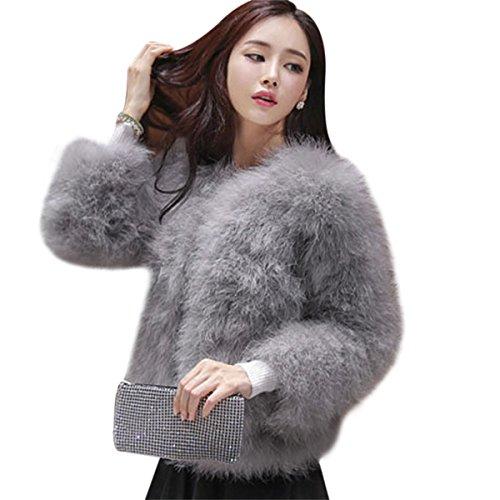 FUNOC Women's Winter Short Faux Coat Fluffy Outerwear Jacket Warm Overcoat by FUNOC
